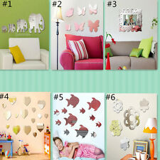 Removable Acrylic Mirror Sticker Wall Room Decor Vinyl Decal Art Mural Kids DIY