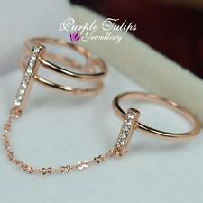 Two fingers Wearing , Double Band SWAROVSKI Crystal Ring, 18CT Rose Gold Plated