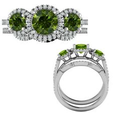 2.35 Carat Green Diamond Designer Three Stone Halo Ring + Band 14K White Gold