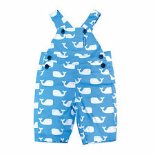TOBY TIGER BOYS BLUE WHALE DUNGAREES, 100% COTTON TWILL. 0-3 YEARS, BNWT!