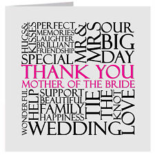 Thank You Mother of the Bride Wedding Word Card  or Gift Tag UK FREE POST
