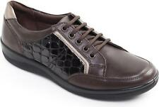 Padders ATOM Ladies Patent Leather Lace Up Wide Fit Comfort Trainer Shoes Brown