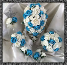 Wedding Flowers Ivory/Turquoise Crystal Bouquet Bride/Bridesmaids/Buttonholes