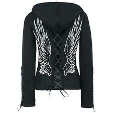 POIZEN INDUSTRIES ANGEL WINGS BLACK HOOD LADIES GOTHIC EMO PUNK LACE CORSET
