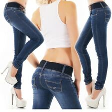 Womens Blue Skinny Jeans Size 6 8 10 12 14 Sexy Low Rise Hipster with FREE belt