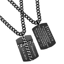 Christian Dog Tag Cross Chain Necklace, STRENGTH Isaiah 40:31, Steel Curb Chain