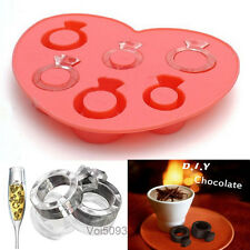 Silicone Love Diamond Ring Shaped Ice Cube Mould Trays Jelly Candy Mold Maker