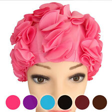 New Women Ladies Vintage Style Floral Flower Adult Swimming Swim Cap Bathing Hat