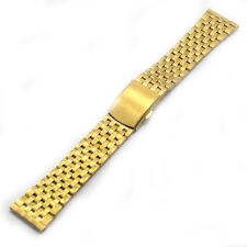 Mens Golden Stainless Steel Watch Band Clasp Strap Bracelet 18/20/22mm Replace