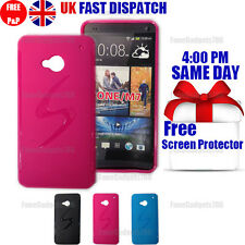GRIP S-LINE SILICONE GEL CASE & FREE SCREEN PROTECTOR FITS HTC ONE M7