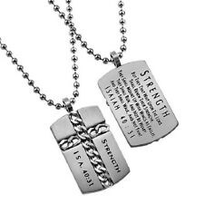 Christian Dog Tag Cross Necklace, STRENGTH Isaiah 40:31, Steel Ball