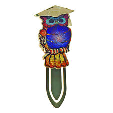 Colourful owl personalised / engraved bookmark & black velvet gift pouch BR350