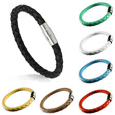 Unisex Women Men's Braided Leather And Stainless Steel Magnetic clasp Bracelets