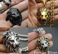 Fashion Stainless Steel Gold/Silver Tone Mens Lion Head Pendant Necklace Jewelry