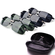 Men UV 400 Polarized Metal Frame Sunglasses Outdoor Aviator Sun Glasses & Case