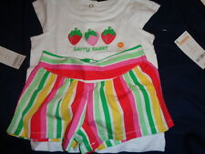 NWT Gymboree Strawberry Sweetheart outfit Berry Sweet top with stripped shorts