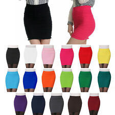 Women Pleated Seamless Stretch Tight Sexy Bodycon Mini Skirt  Pencil Dress