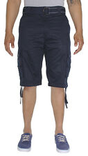 New men  Mo7 Most Official Seven Men's Belted Heavy Wash Cargo Shorts Black