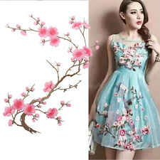 Beautiful Embroidered Plum Blossom Flower Patch Iron/Sew on Applique Motif Craft
