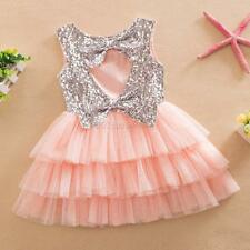 Baby Girls Princess Sequined Bow Party Kids Formal Dresses Tulle Tutu Cake Skirt