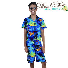Mens Hawaiian Shirt & Boardies | Blue Sunset Cabana Set