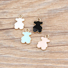 Wholesale Enamel Gold Tone Lovely Bear Charms Pendant Jewelry DIY Making 18x10mm