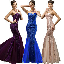 Mermaid SEQUINS Women Formal Prom Dresses Long Pageant Evening Party Bridesmaid