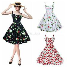 New Women Floral 50s Pinup Party Vintage Cherry Printed Rockabilly Swing Dresses