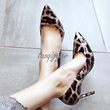 Sexy Leopard Womens Lady Pointed Toe Cow Leather Pumps OL Stiletto High Heels Sz
