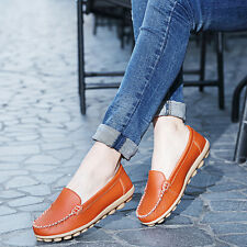 Women Leather Comfort Casual Walking Bowed Flat Shoes Loafers Moccasin Oxfords