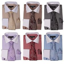 New George French cuff dress shirt with cuff links paisley design tie&hanky A615