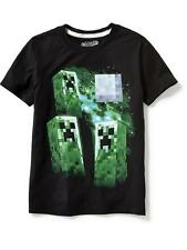 NWT OLD NAVY Boys Minecraft Creeper Tee T-Shirt Tees Shirt Youth Top NEW Black