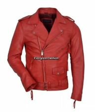 SLIM FIT Men's RED Designer BRANDO Fitted Real SOFT Lambskin  Biker Jacket