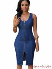 Women Girl Sexy Denim Midi Party Club Dress W/ Gold Zipper Slit Front Sleeveless