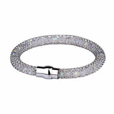 New Womens 925 Silver Plated Bracelet Chrystal Gift Beaded Cute Fashion Hot