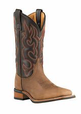 "Men's Laredo ""Lodi"" Taupe/Chocolate Broad Square Toe Western Cowboy Boot 7898"