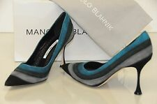 $985 New Manolo Blahnik Grey Teal Green Black Suede Shoes BB Heels Pumps 36.5