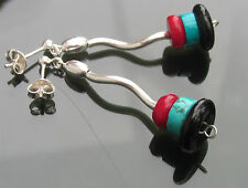 Gemstones Hematite Black Onyx Turquoise Red Coral Beads 925 Silver Earrings