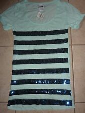 "VICTORIAS SECRET PINK BLING SEQUIN STRIPED SCOOPNECK/CREW ""PINK"" TEESHIRT NWT"