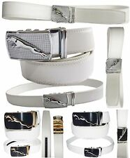 New Men's White Leather Dress Belt w/ Auto Lock Sliding Buckle, Up to 43 inches