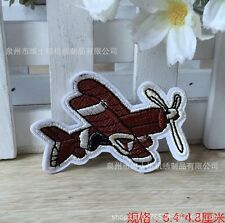 Cartoon brown plane embroidered patch iron/sew on kids diy Cloth badge Fabric