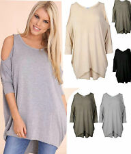 WOMENS OVERSIZED CURVE HEM CUT OUT COLD SHOULDER LOOSE TUNIC DRESS BATWING TOP
