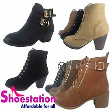 New Womens Round Toe Lace Up Wedge Zip Heels Suede Ankle Boots Booties Size 5-10