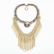 spike necklace gold plated chunky chain crystal pendant necklace for women 2016
