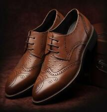 Hot  Mens Dress Leather Oxfords Brown Black Lace up Brogue Wing Tip formal Shoes