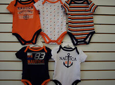 Infant Boys $42 Nautica 5-Pack Assorted Onsies Set Size 0/3 Months - 6/9 Months