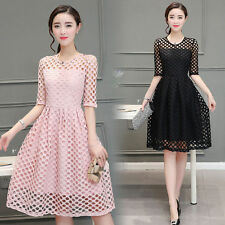 2016 Summer Korean Fashion Women Half Sleeve Lace Hollow Solid Waist Dress Slim