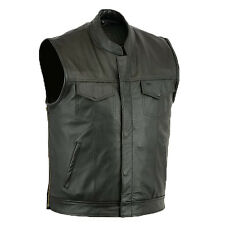New Mens Son Of Anarchy Real Leather Motorcycle Biker Waistcoat/Vest Size M-5XL
