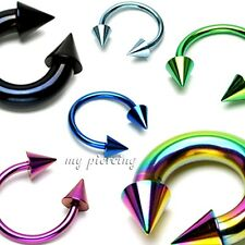 2pcs 18g - 2g Anodized Steel Spike Horseshoe Circular Barbell Ears Labret Septum