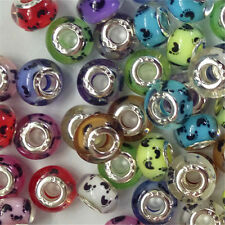 30x Silver Core Footprint Silder Spcacer Resin Bead Fit European Charms Bracelet